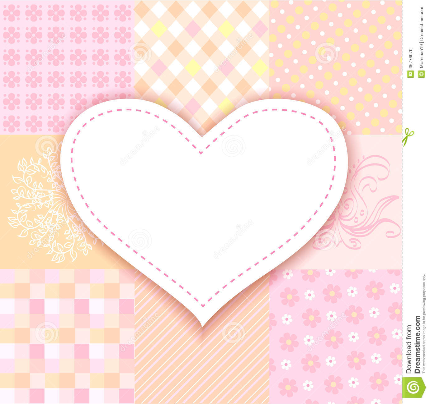 Cute Pattern Wallpaper Free White Heart Romantic Background Patchwork Stock Vector
