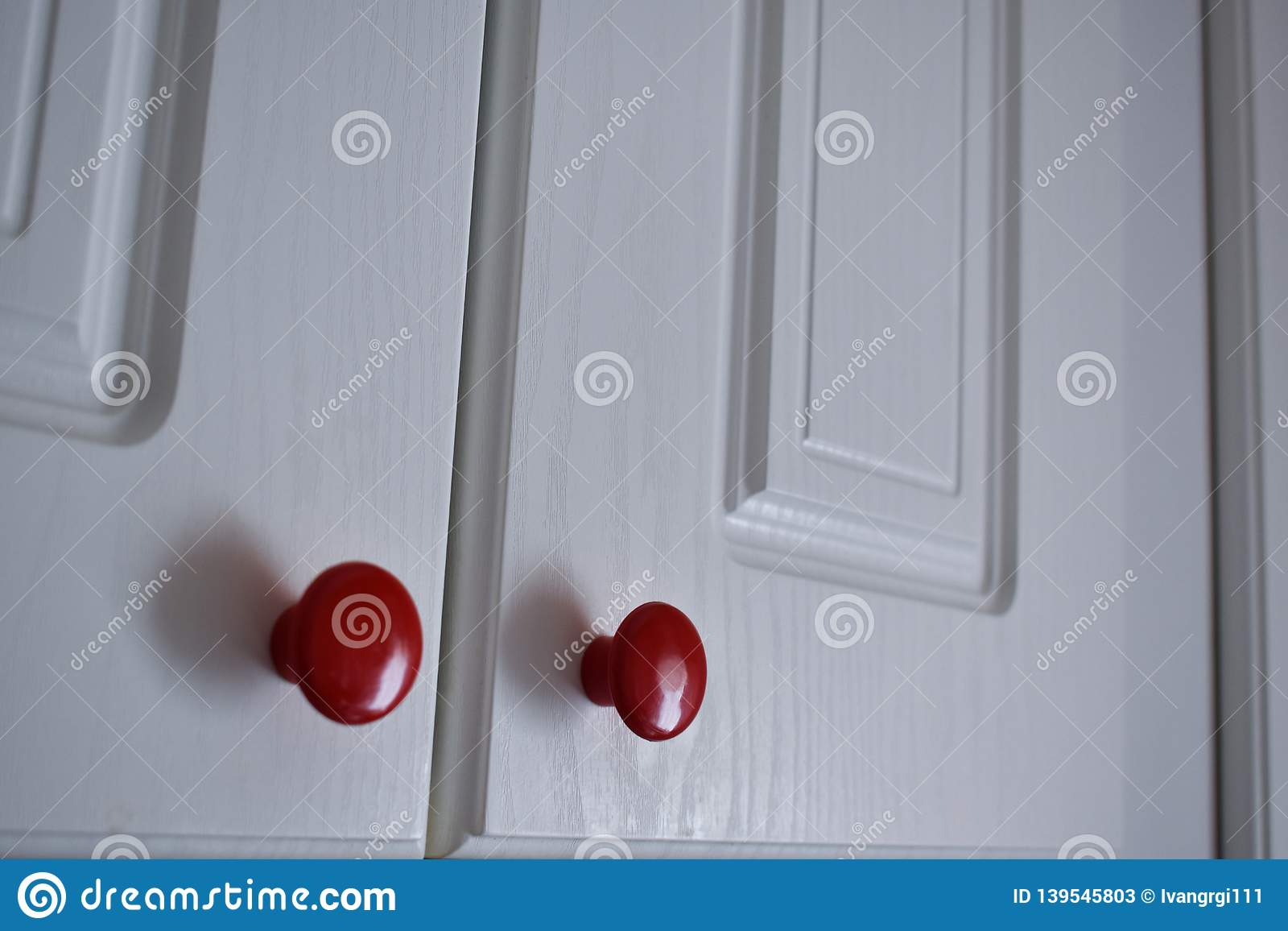 Kitchen Cabinets With Red Knobs White Kitchen Cabinet With Red Knobs Stock Image Image Of White