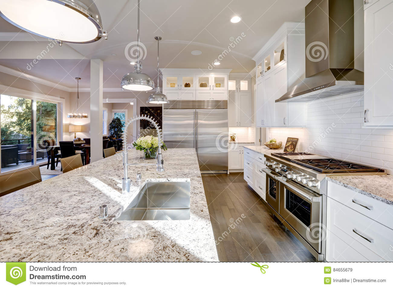White Kitchen Design In New Luxurious Home Stock Image Image Of Interior Large 84655679