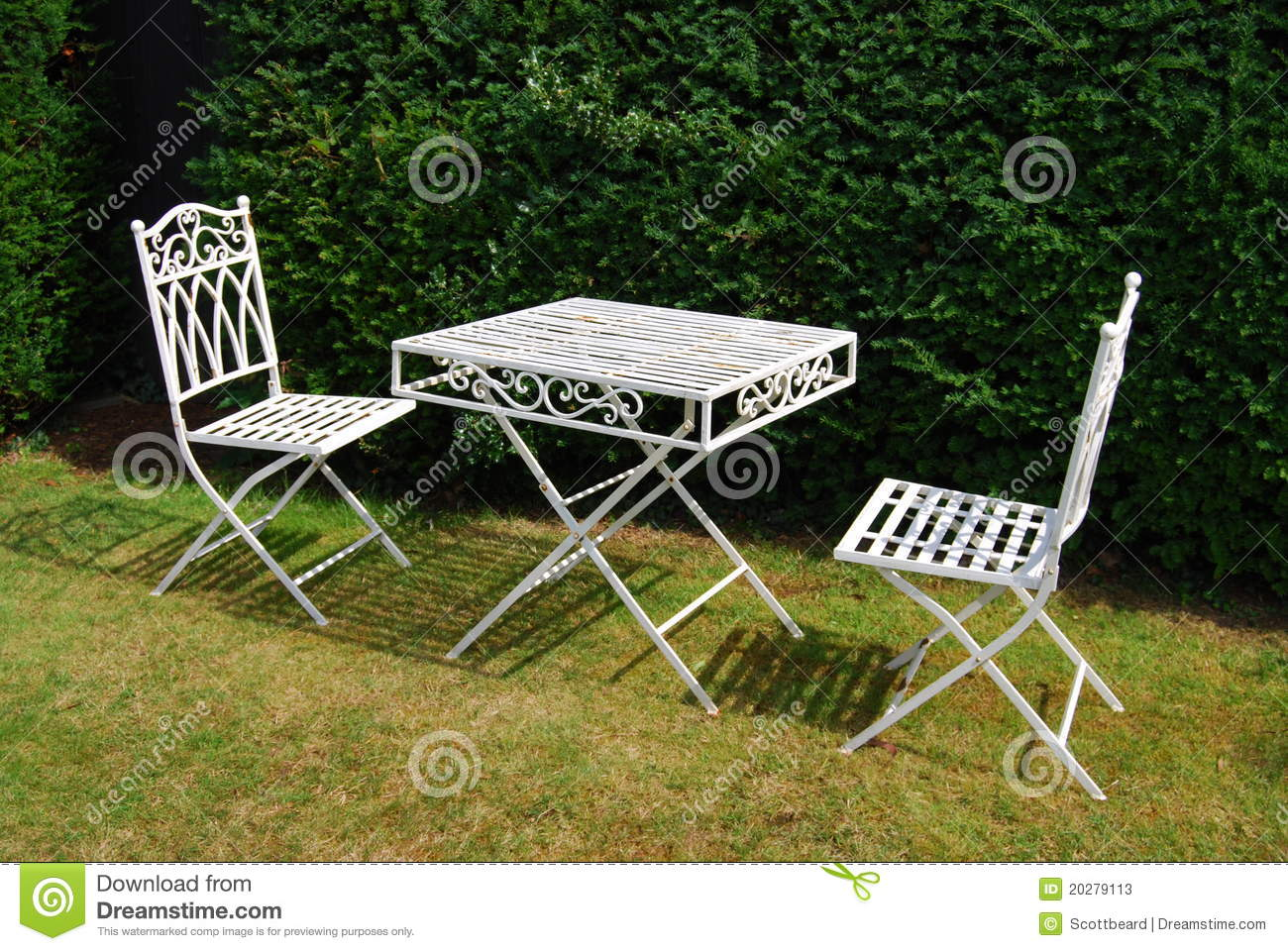 Chairs furniture garden grass lawn metal table two white
