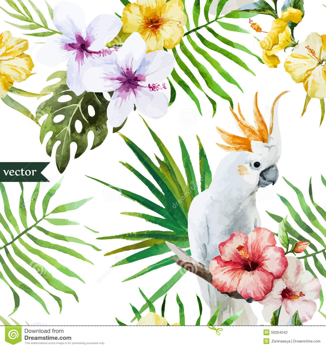 Cute Zig Zag Wallpapers White Parrot Hibiscus Tropical Palm Trees Flowers
