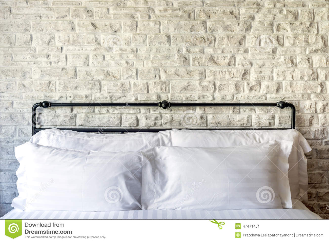 Bedroom White Background White Pillows On A Classic Bedroom With White Brick Wall