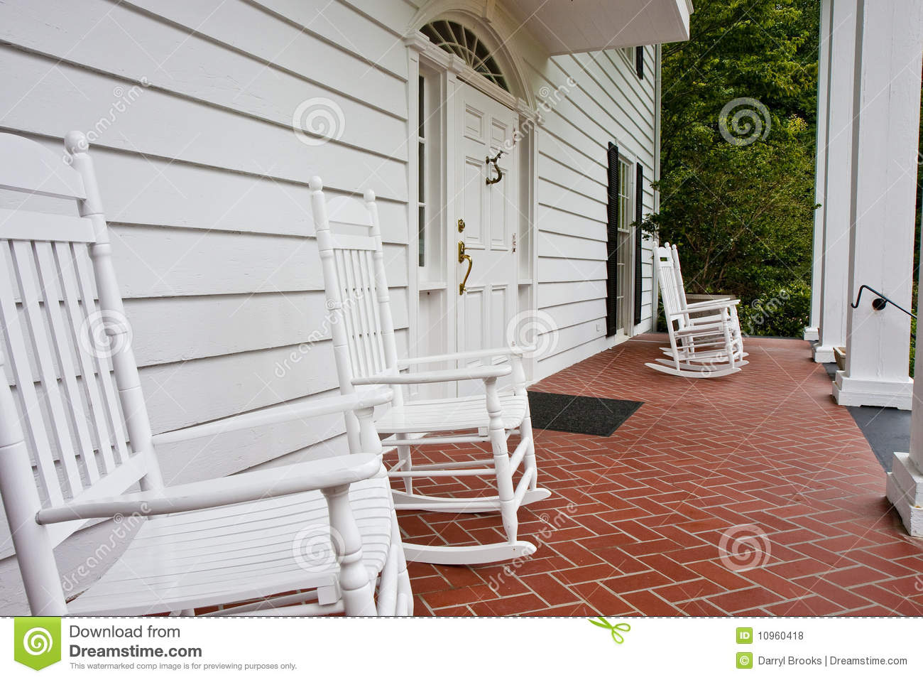 White Rockers On Red Tile Porch Stock Photo Image Of