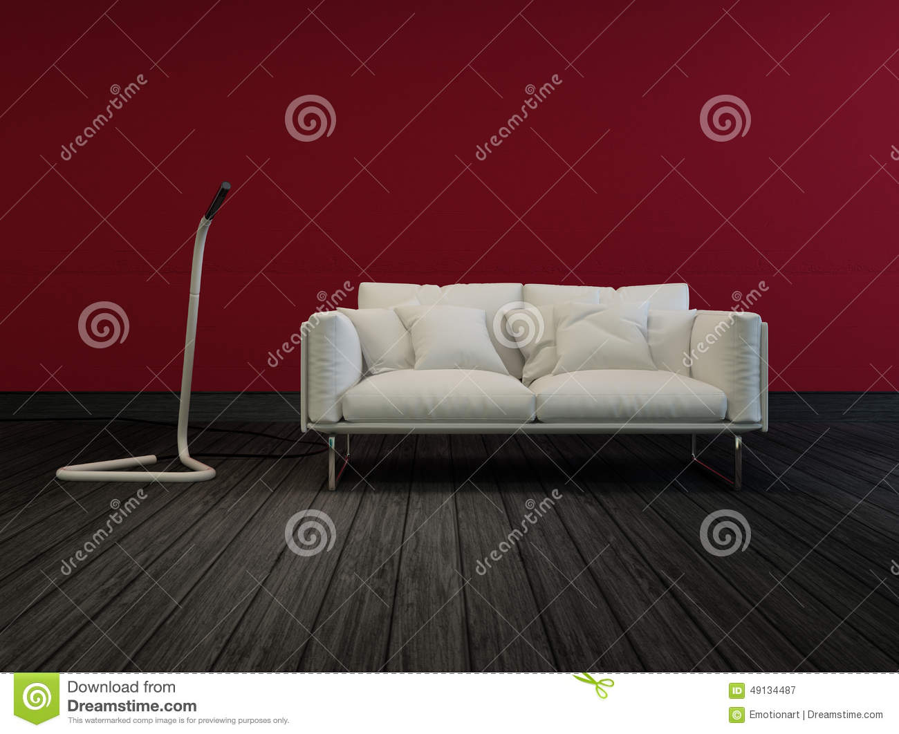 Grey Couch Red Walls