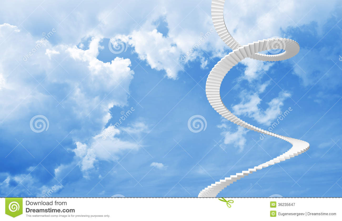 Falling Leaves Wallpaper Free Download White Spiral Stairs Goes In Blue Cloudy Sky Royalty Free