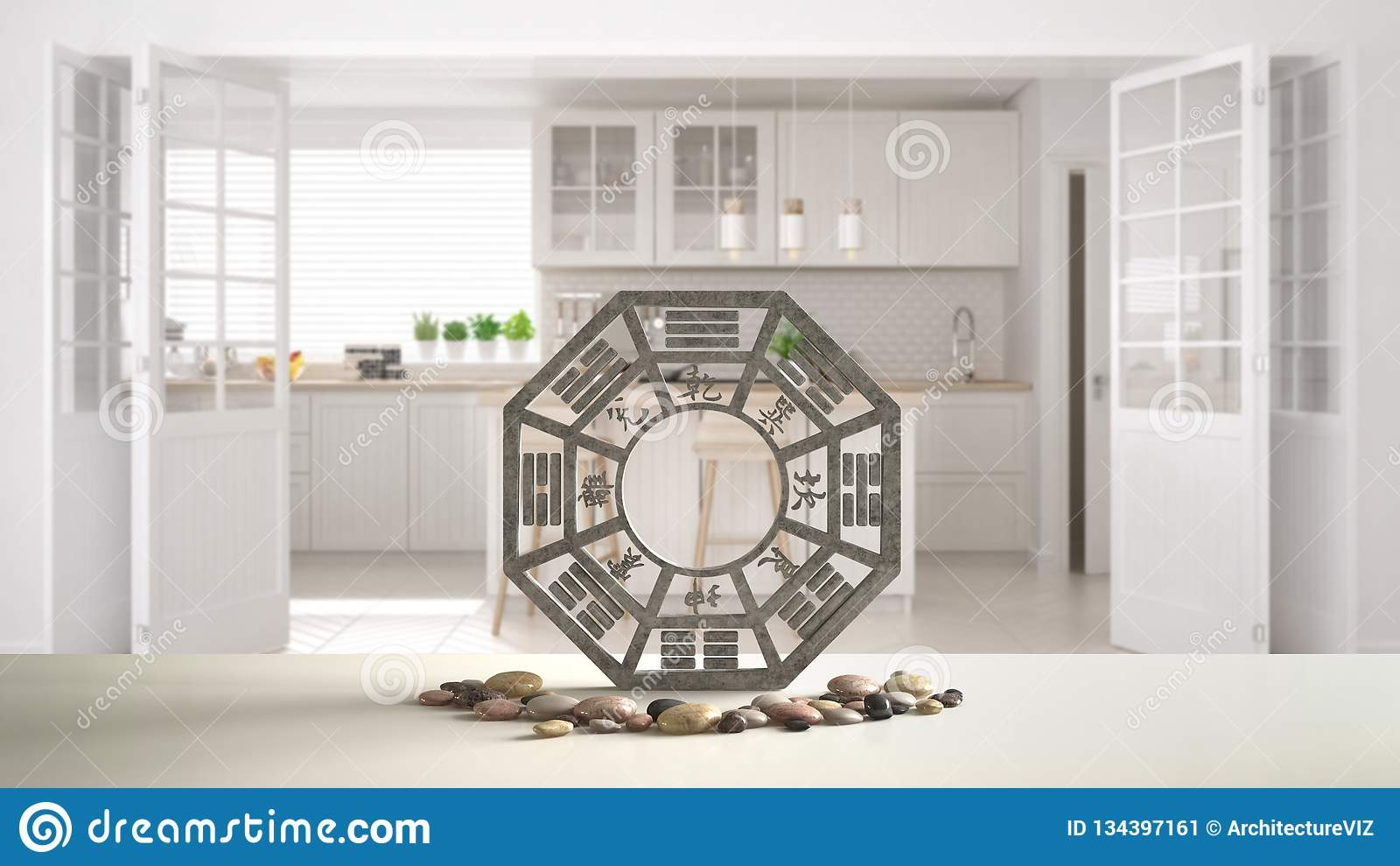 Kitchen Island Design Template White Table Shelf With Bagua And Pebble Stone White Scandinavian