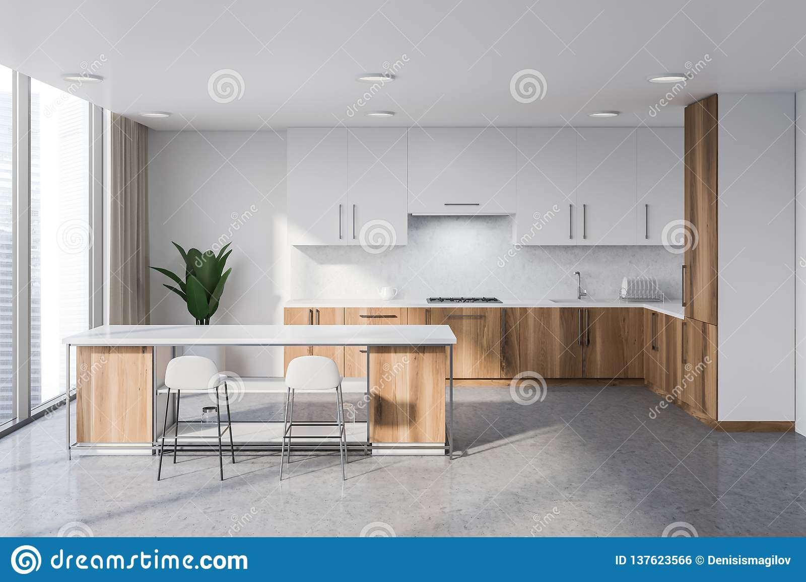 Wooden Kitchen Counter Stools White And Wooden Kitchen With Bar Stock Illustration