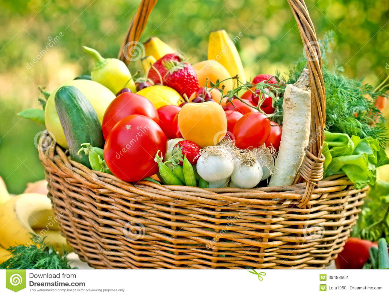 Table Top Fruit Basket Wicker Basket Full Of Fruits And Vegetables Stock Photo