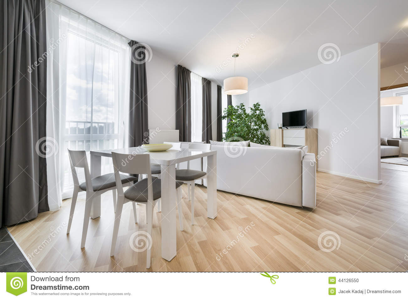 Scandinavian Style Living Room Wide View Of Living Room In Scandinavian Style Stock Photo