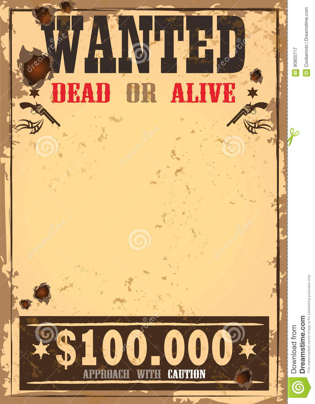 Old Western Wanted Poster Auto Electrical Wiring Diagram Jvc Kd G420 Wild West Bounty Or Paper Stock Vector