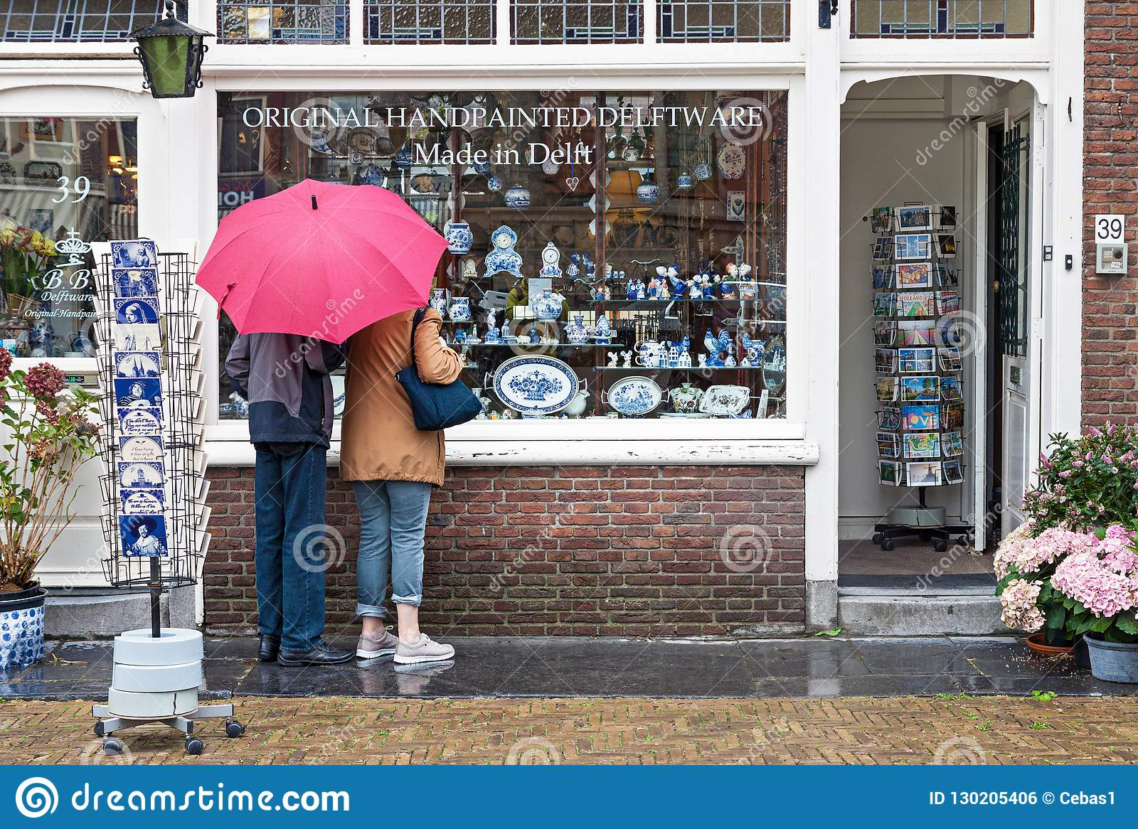 Delft H&m Window Display Of Traditional Dutch Handpainted Pottery Shop In