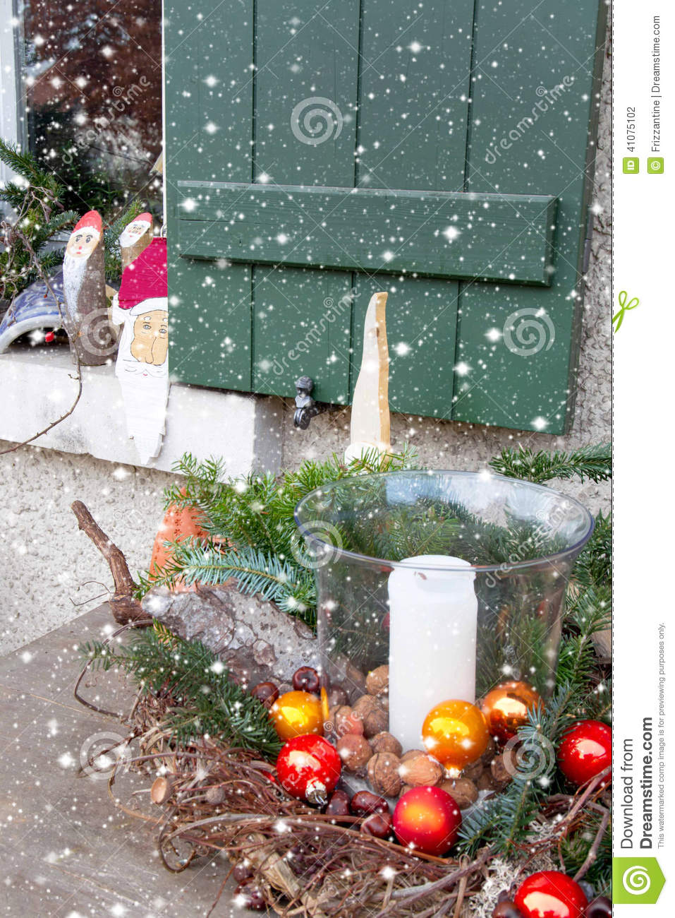 Window Sill Outside Decorated With Heather And Santa For