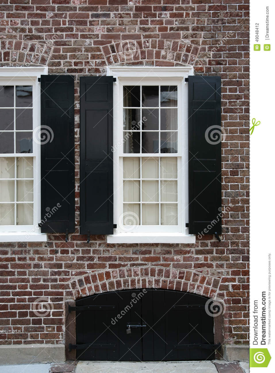 White House Black Windows Windows, Brick Wall, Black Shutters Stock Photo - Image Of