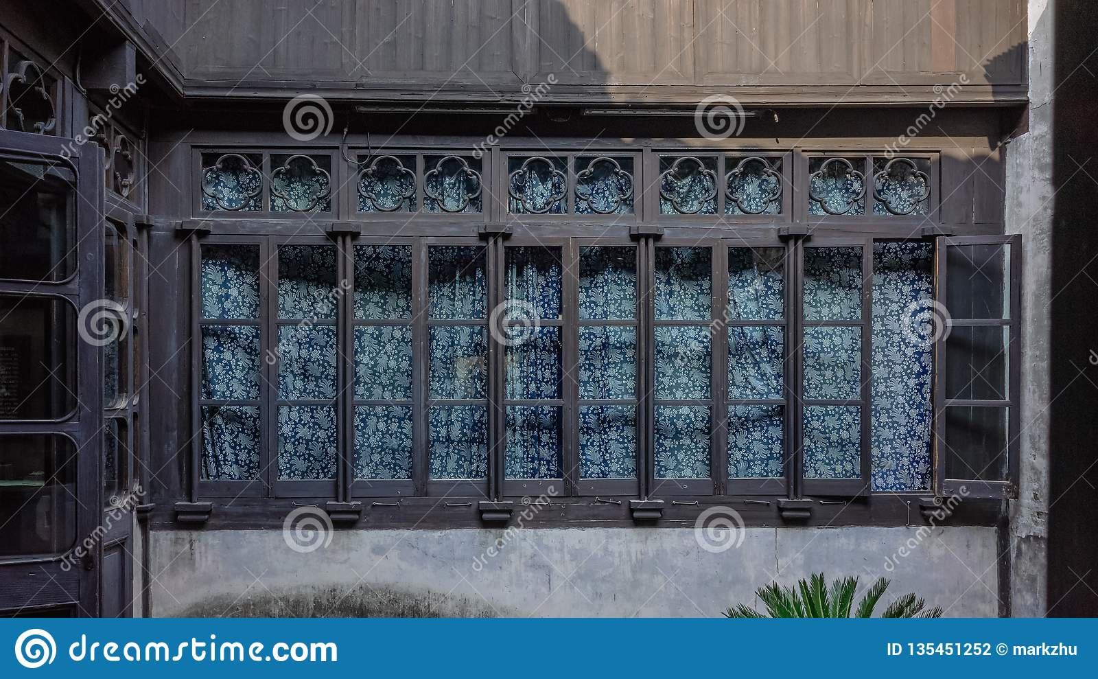 China Blue Curtains Windows Of Traditional Chinese House With Blue Curtains In Xitang