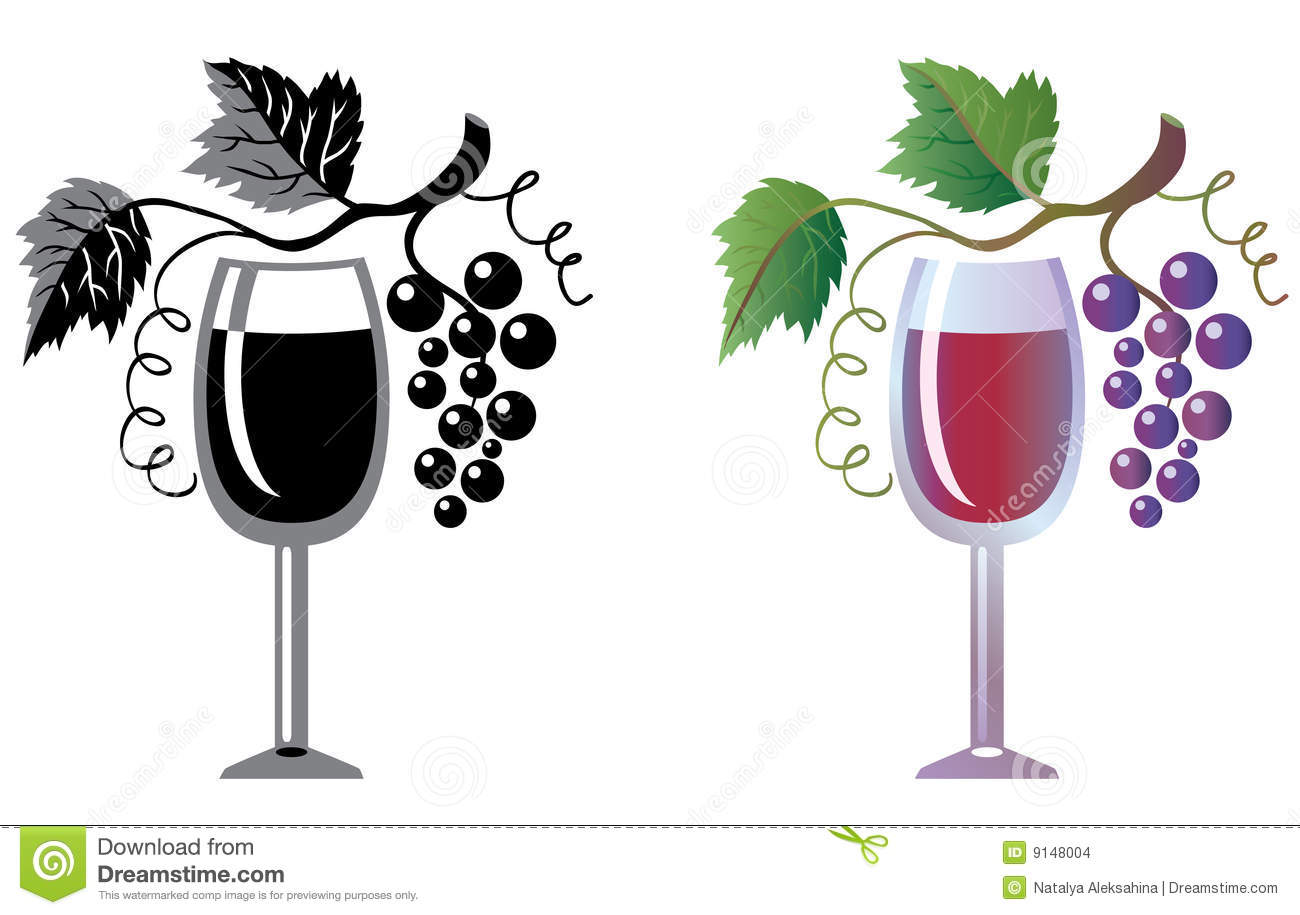 Weinglas Schwarz Wineglass And Grapevine Stock Vector. Illustration Of