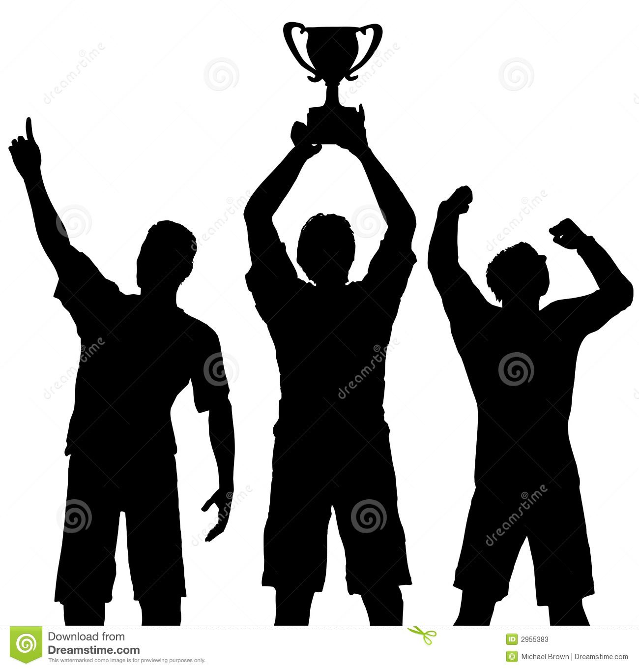 Sieger Clipart Winners Celebrate Trophy Win Stock Vector Illustration