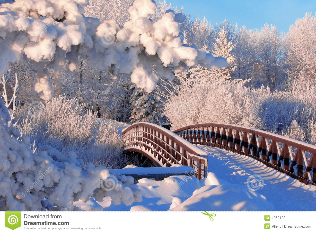Free Download Of Christmas Wallpaper With Snow Falling Winter Bridge Stock Photo Image Of Holiday Cold Trees