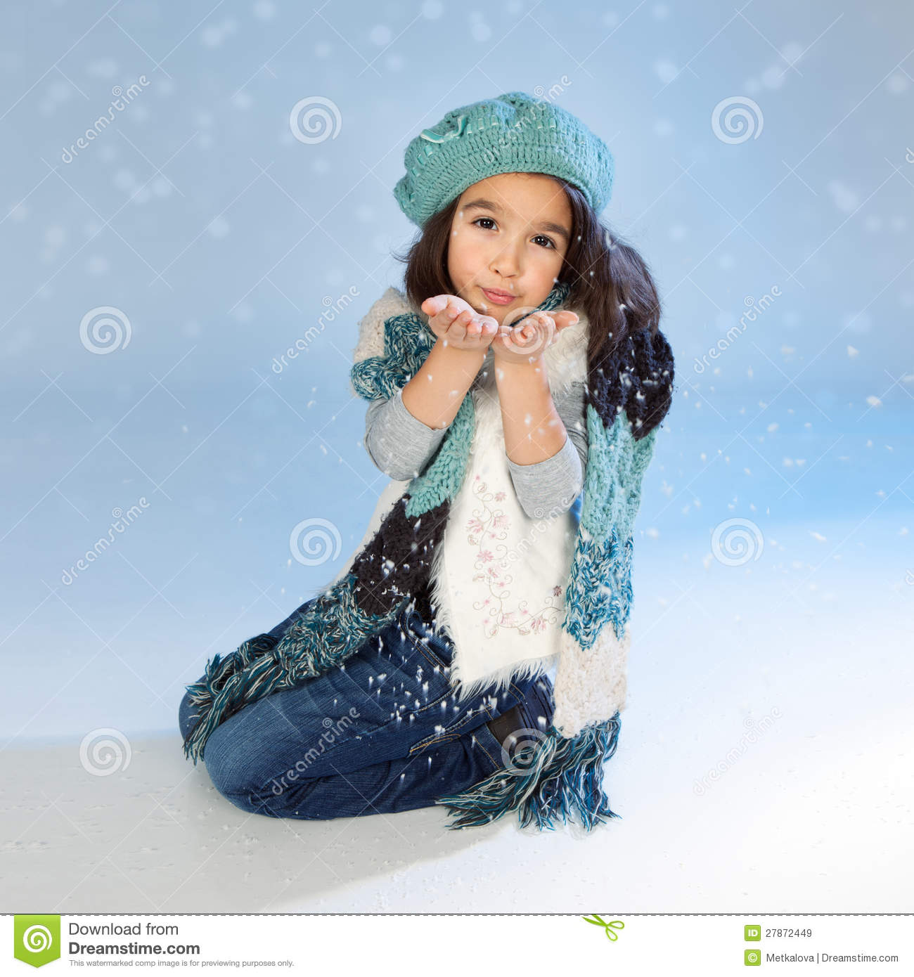 Beautiful Girl With Hat Wallpapers Winter Girl Blowing Snow Stock Image Image Of Blue