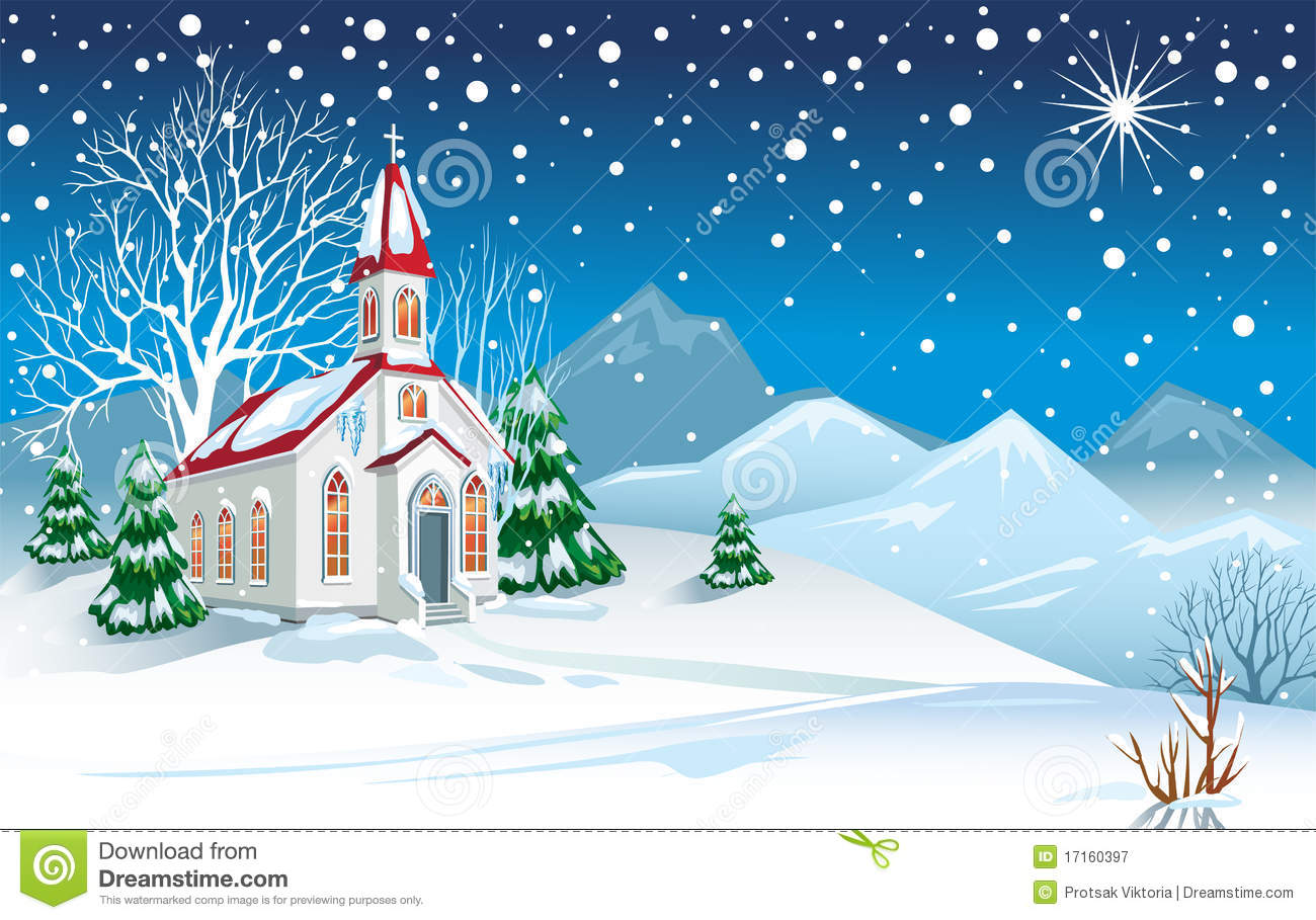Snow Falling Desktop Wallpaper Winter Landscape With Church Stock Vector Illustration