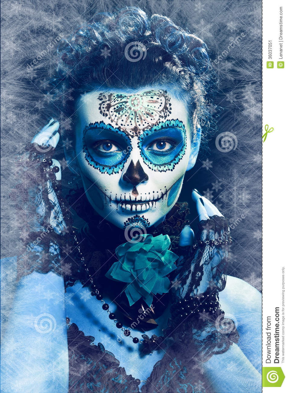 Sugar Skull Wallpaper Hd Winter Make Up Sugar Skull Stock Image Image Of Frozen