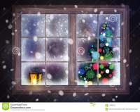 Winter Night Scene Of Window With Christmas Tree And