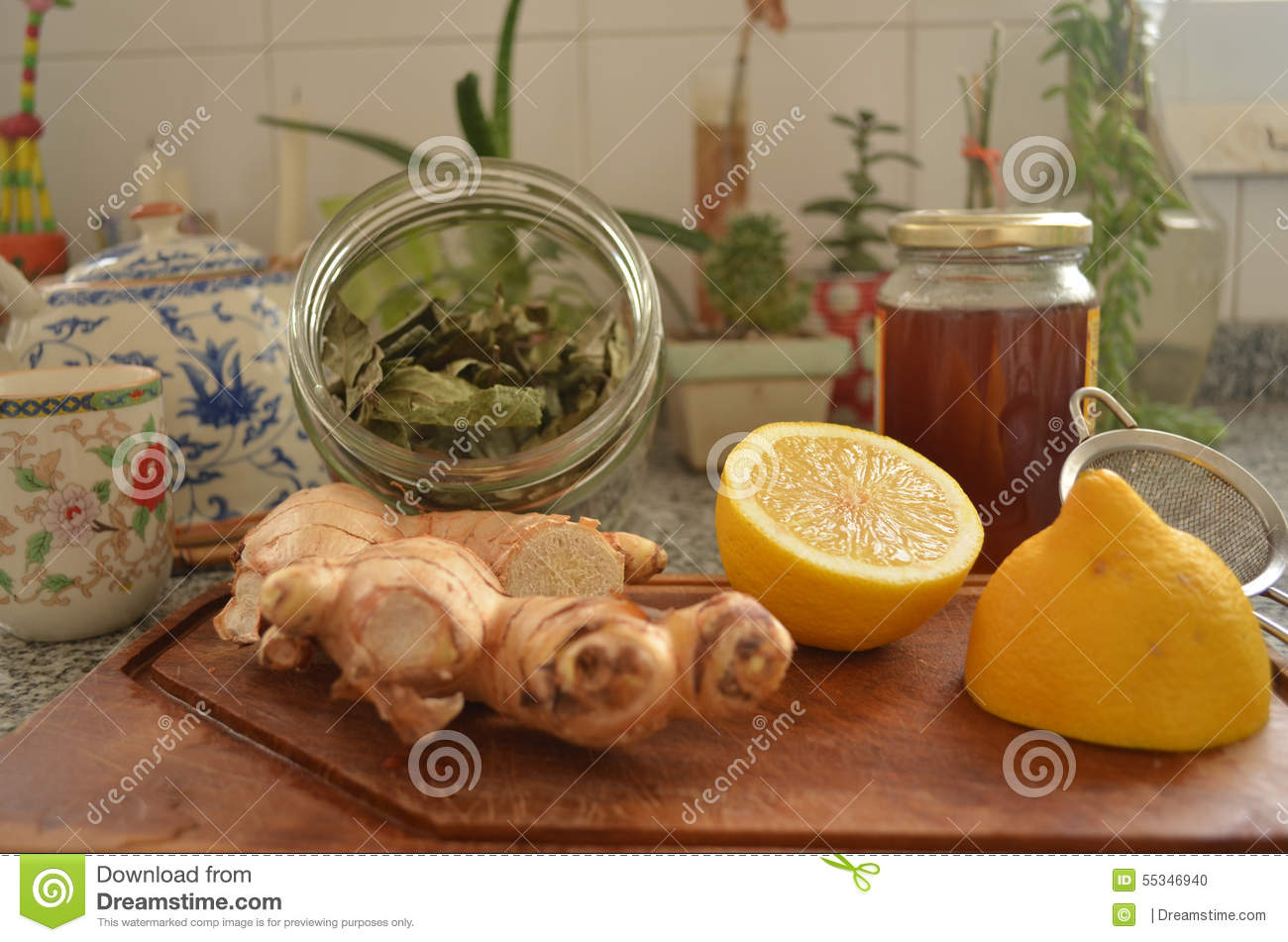 Winter Tee Winter Tee Ingredients At Kitchen Counter Stock Photo Image Of