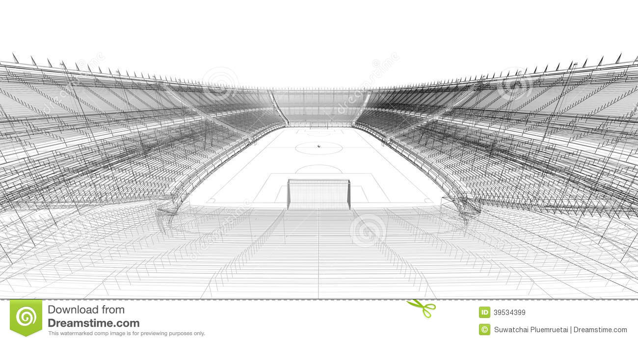 wire frame of football or soccer stadium stock illustration