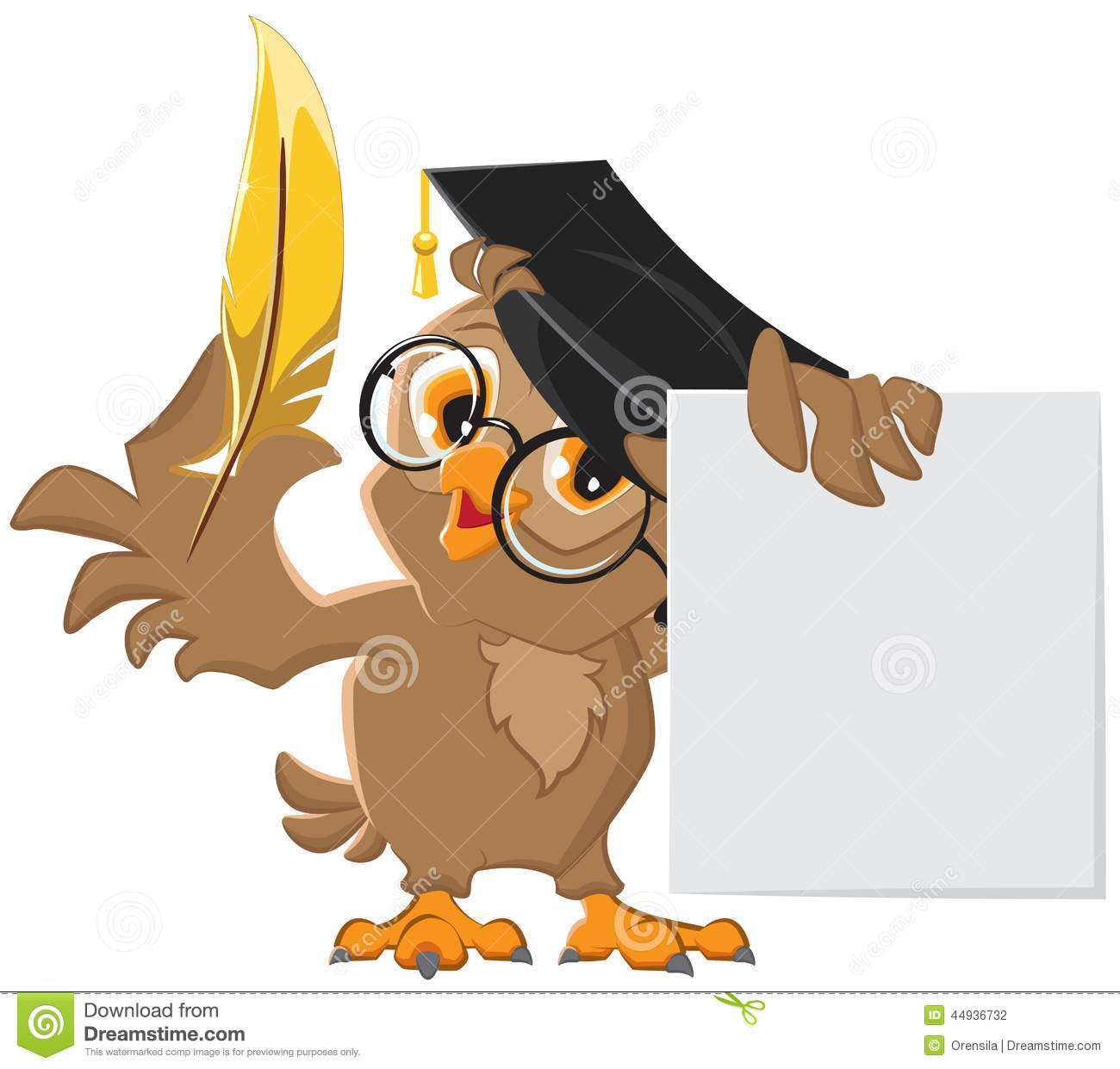 Bücher Borde Wise Owl Holding A Golden Pen And A Sheet Of Paper Stock