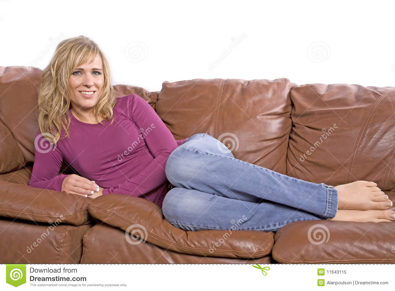 Woman Barefoot On Couch Stock Image Image Of Young