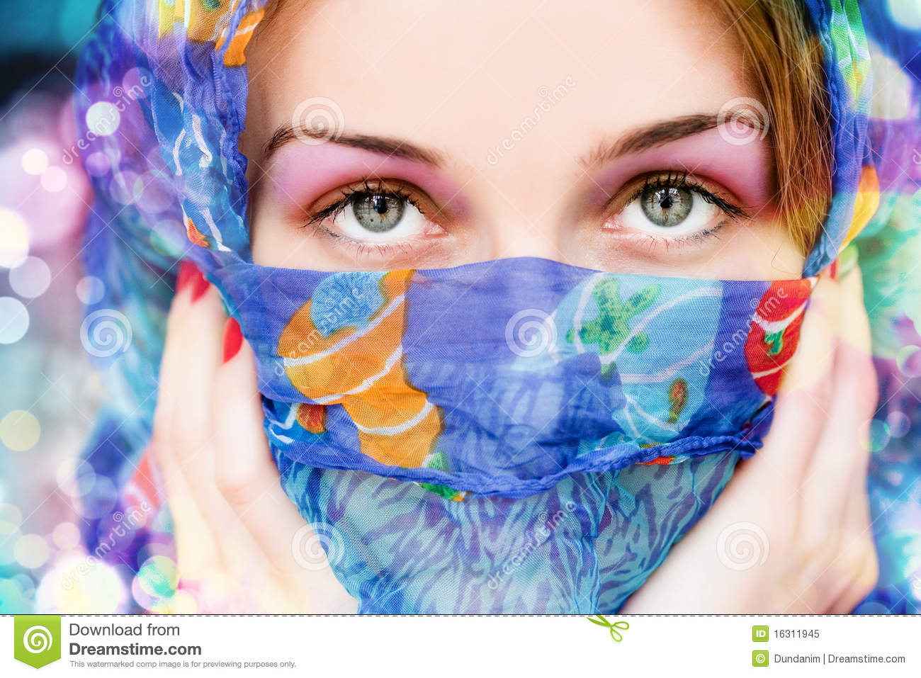 Girl Eyes Looking Up Wallpaper Woman With Beautiful Eyes And Colorful Scarf Stock Image