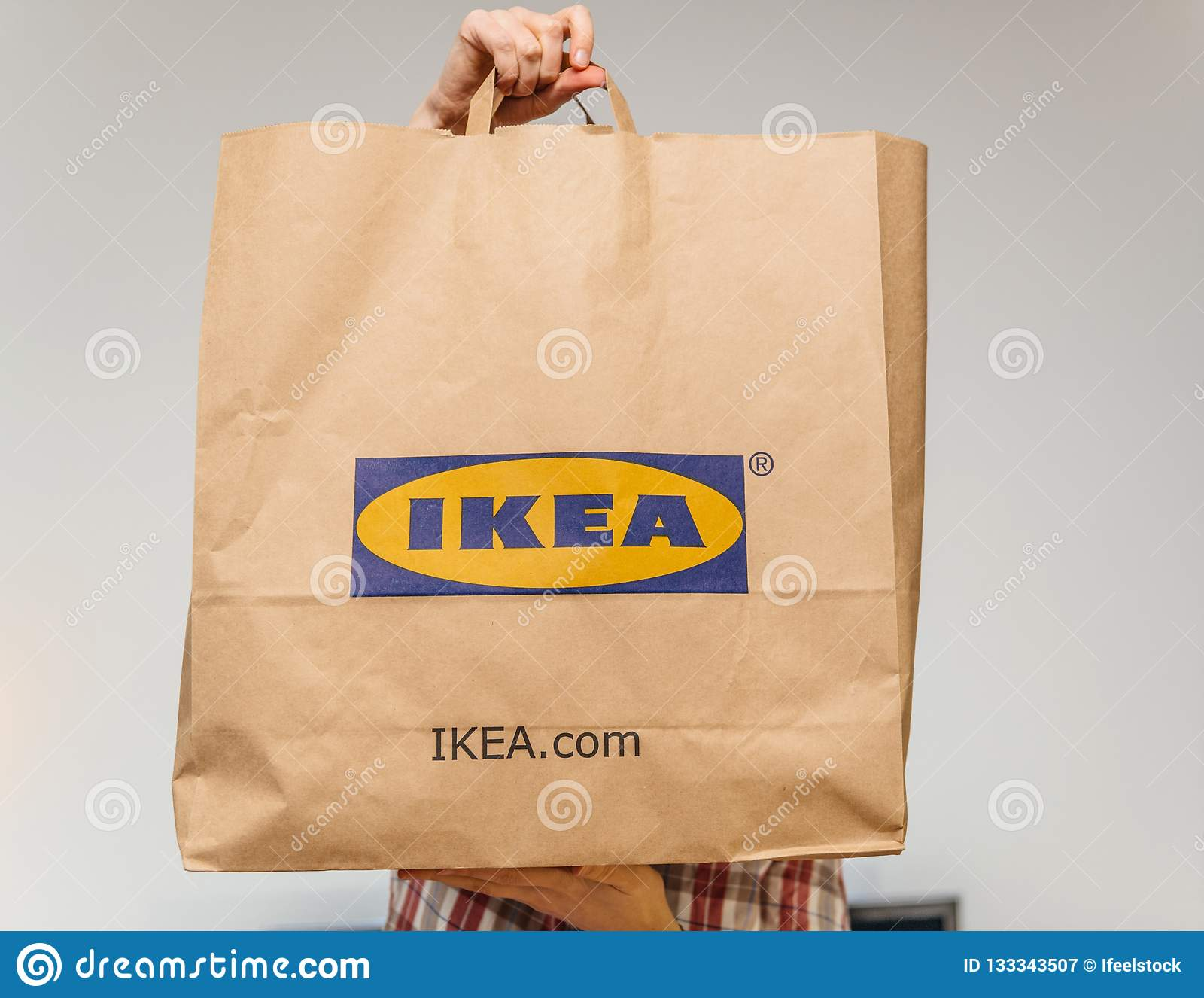 Ikea Front Woman With Big Ikea Paper Bag Unboxing Holding In Front Editorial