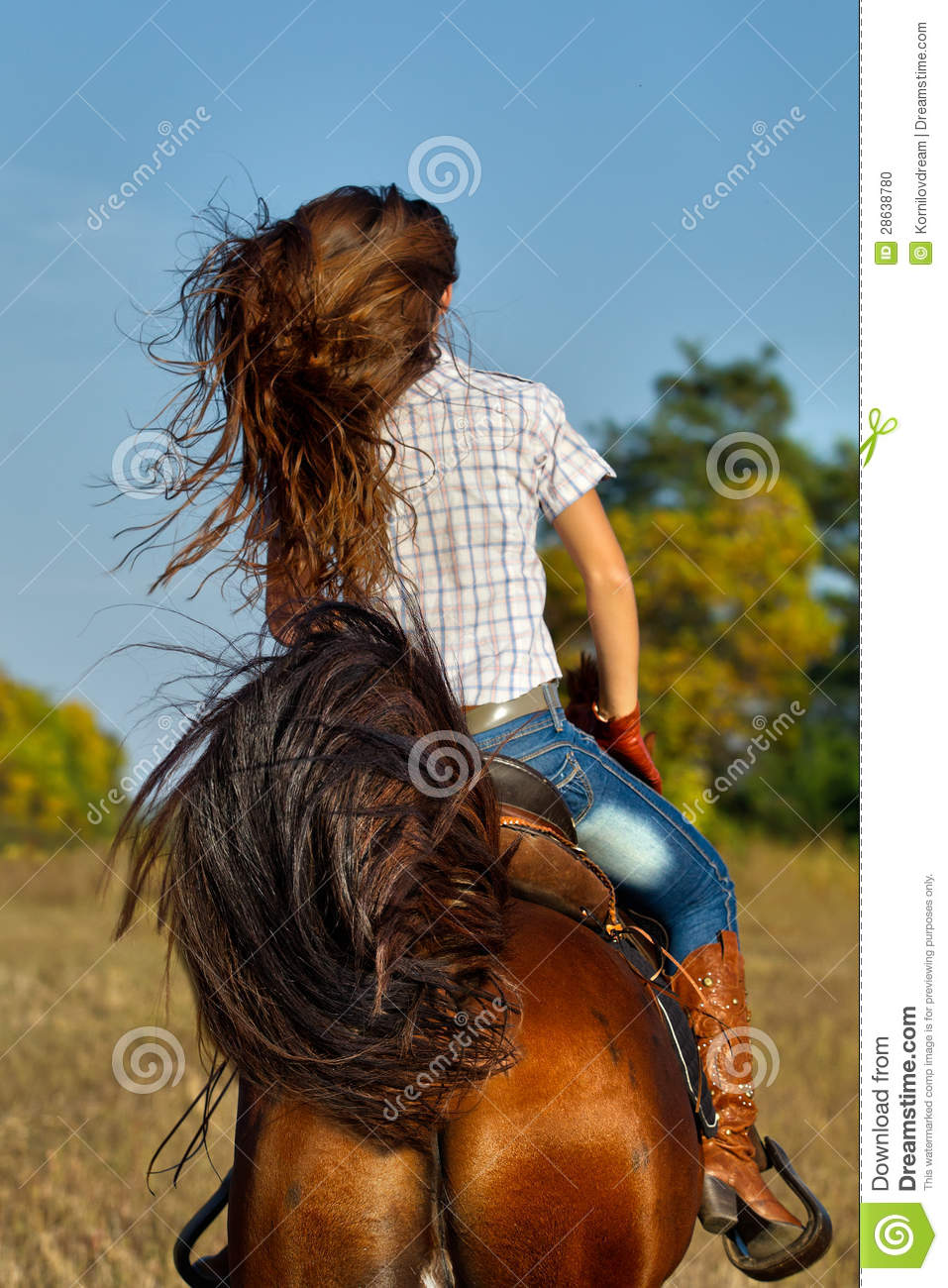 Girl Riding Horse Wallpaper Woman In Blue Jeans Riding A Horse Stock Photo Image
