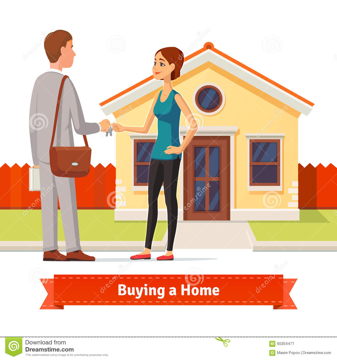 Gift For New Homeowner Woman Woman Buying A New House Real Estate Agent Stock Vector