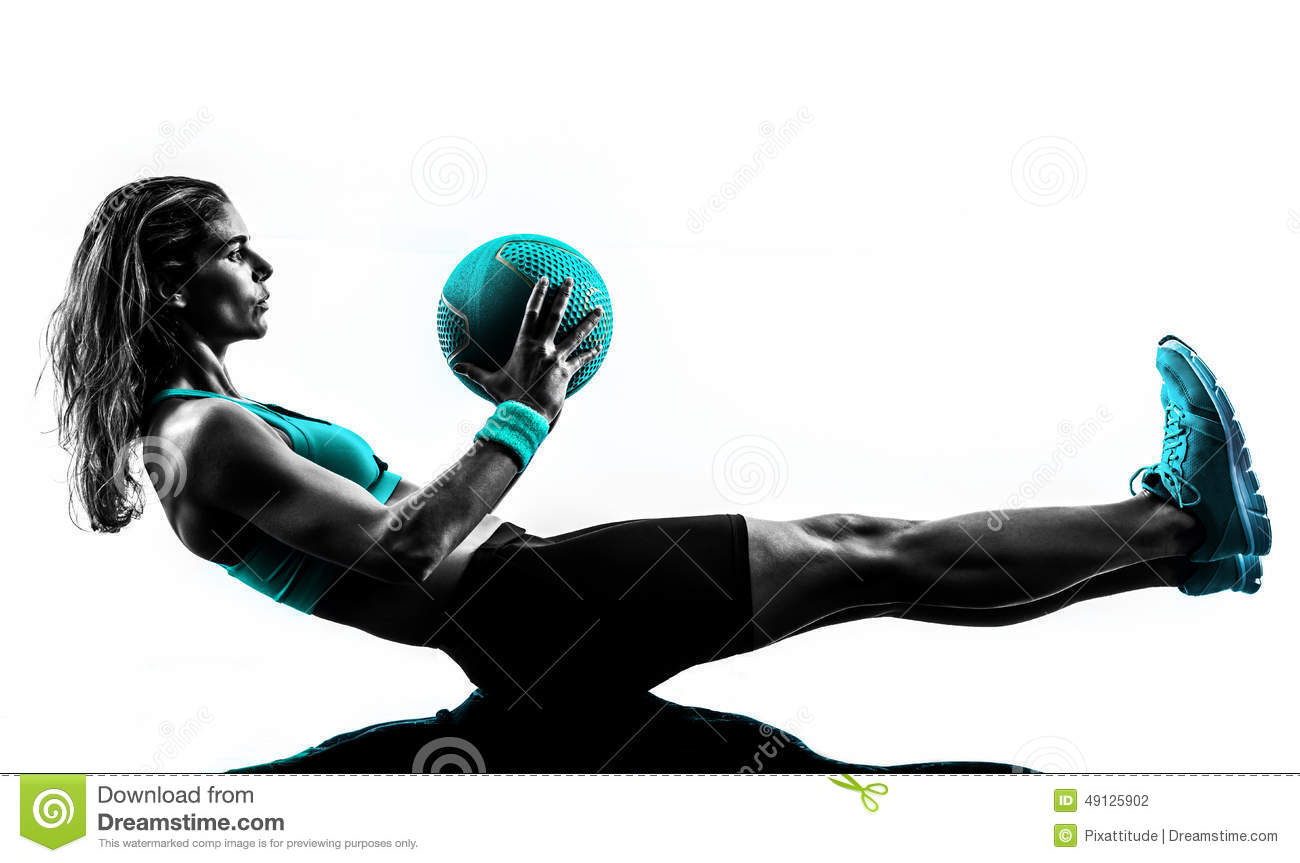Gym 3d Wallpaper Woman Fitness Medicine Ball Exercises Silhouette Stock