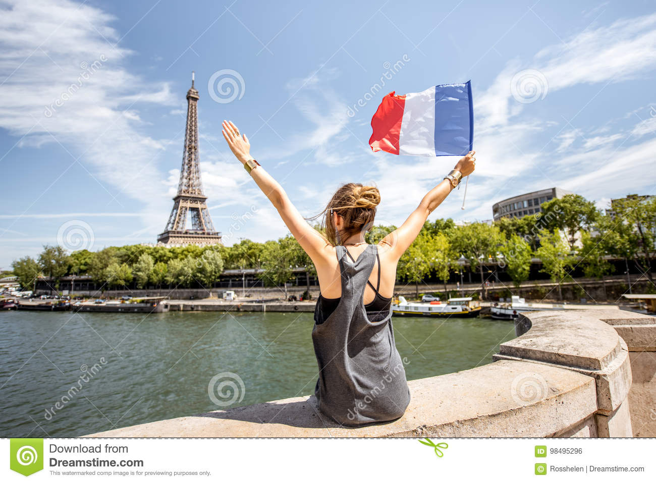 Photo Stock Paris Woman With French Flag In Paris Stock Photo Image Of Enjoy Lady