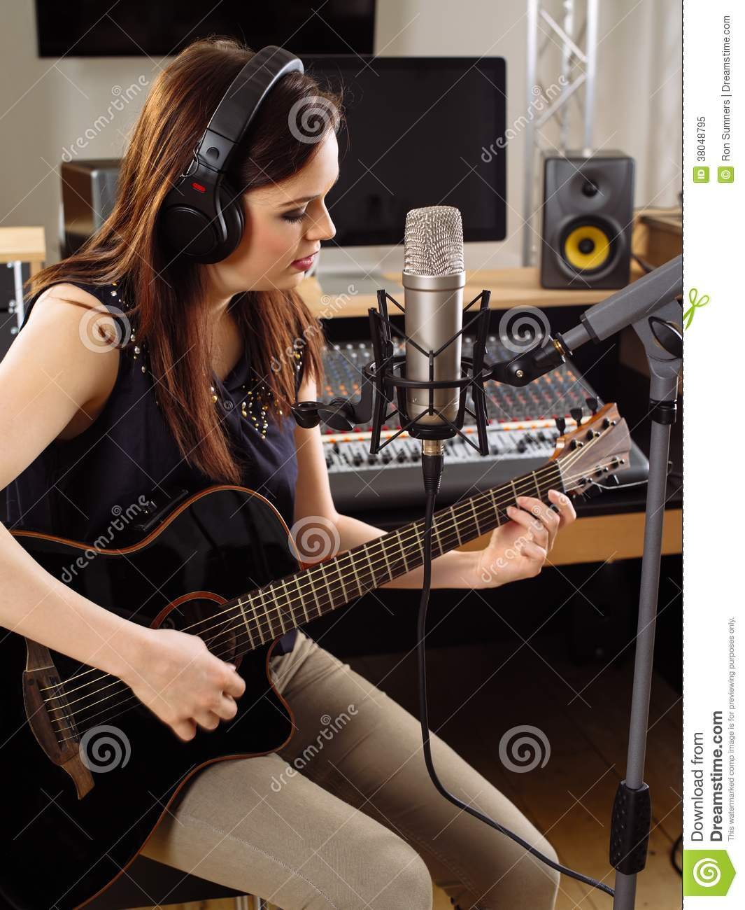 Beautiful Girl With Guitar Wallpaper Woman With Guitar In A Recording Studio Stock Image