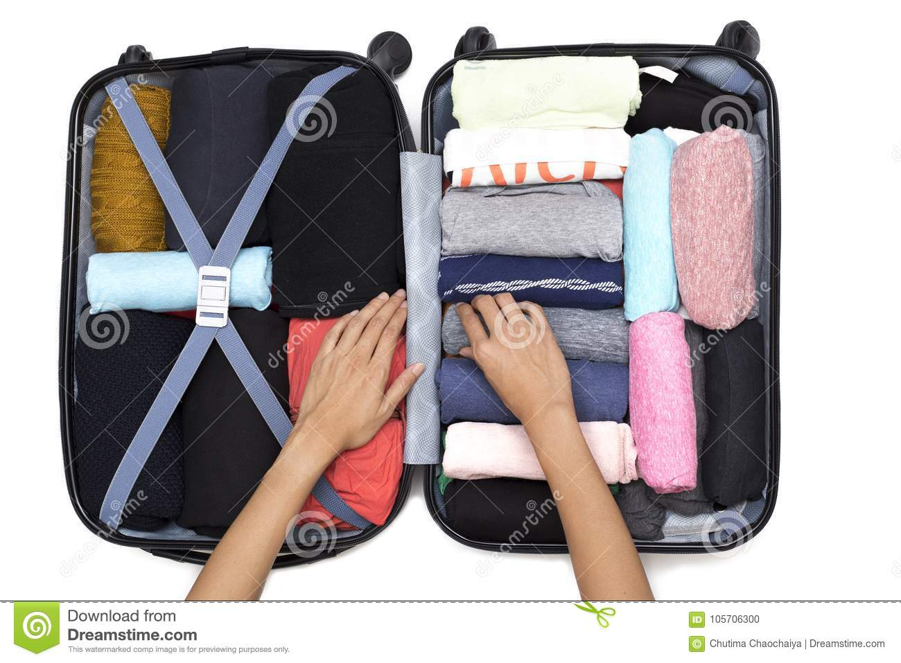 Bagage Week End Woman Hand Packing A Luggage For A New Journey Stock Photo Image