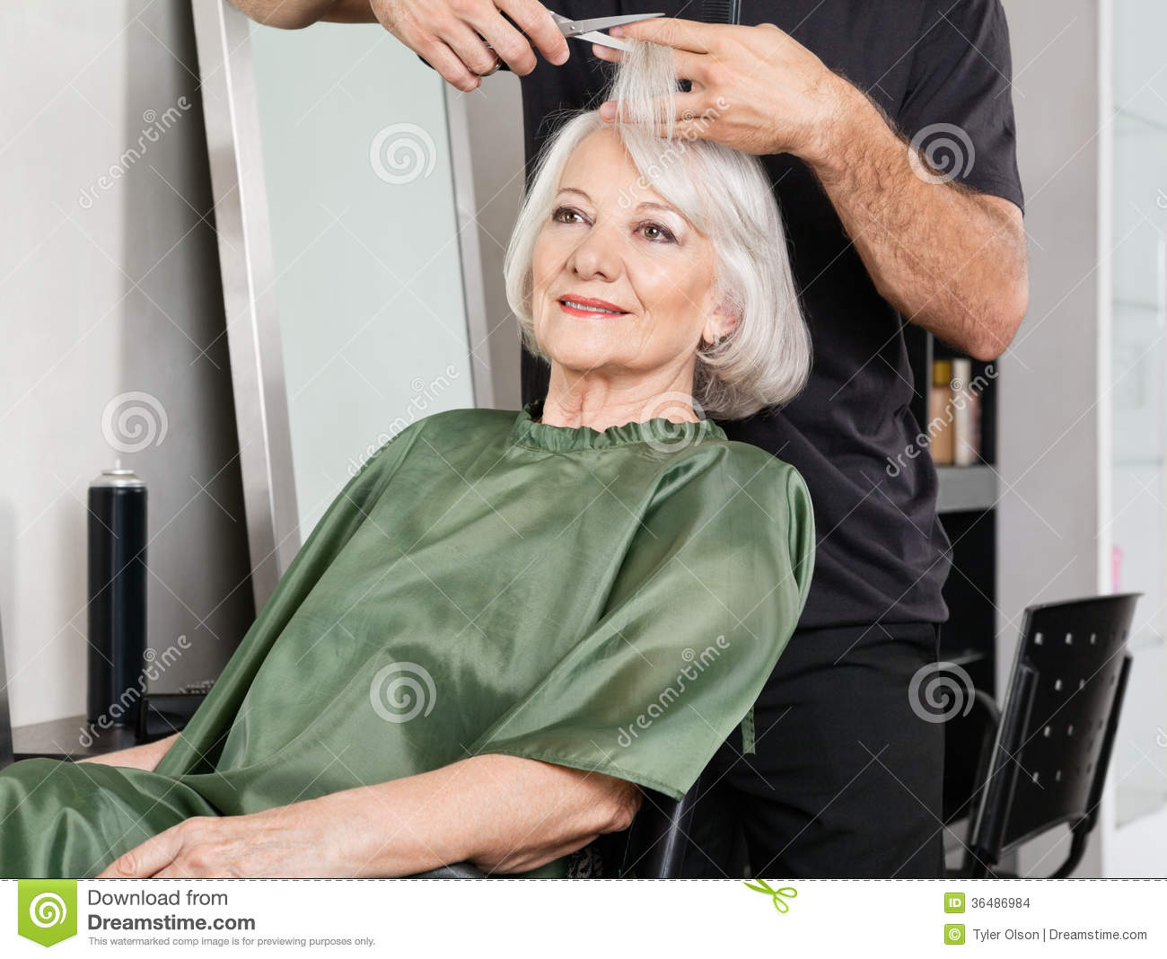 Salon Senior Woman Having Hair Cut At Salon Stock Photo Image Of