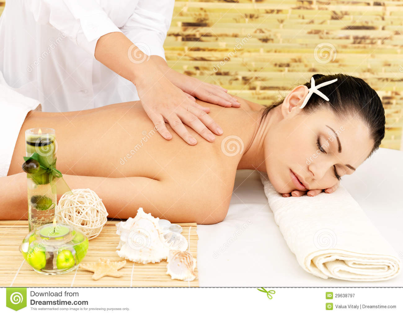 Salon Massage Body Body Woman Having Massage Of Body In Spa Salon Stock Image
