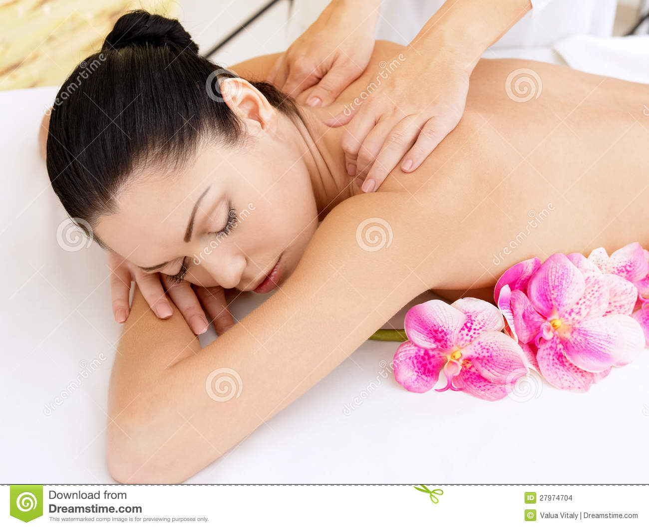 Salon Massage Body Body Woman On Healthy Massage Of Body In Beauty Salon Stock Photo
