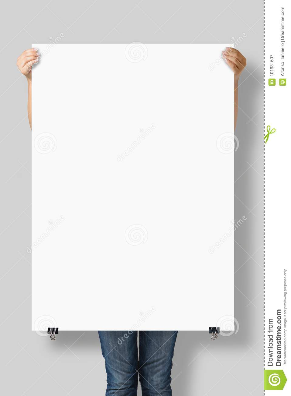 Poster A0 Woman Holding A Blank A0 Poster Mockup Stock Image Image Of