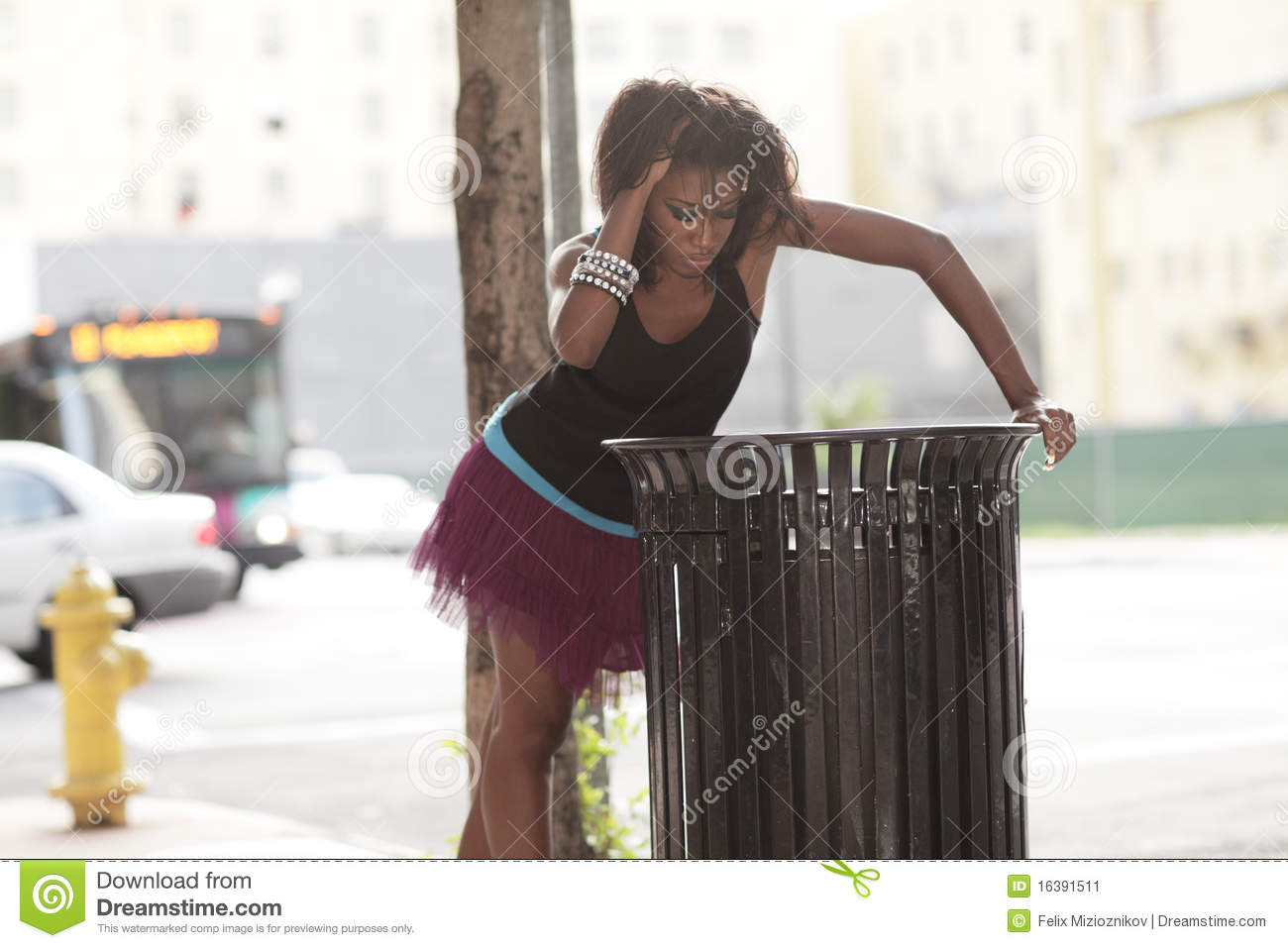Attractive Trash Cans Woman Looking In A Trash Can Stock Image Image 16391511
