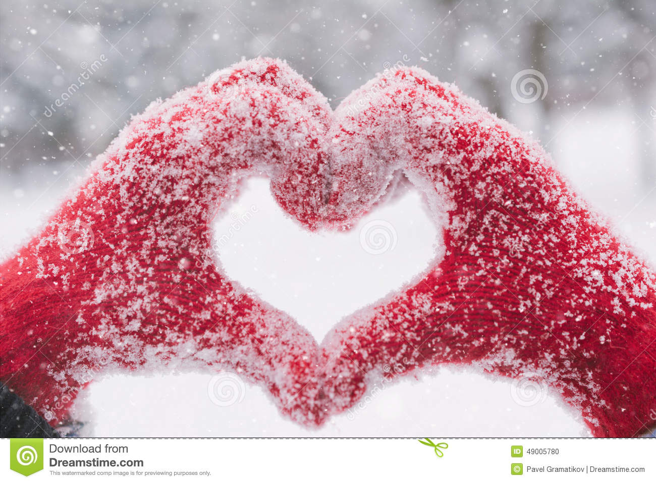 Falling Snow Wallpaper Note 3 Woman Making Heart Symbol With Snowy Hands Stock Photo