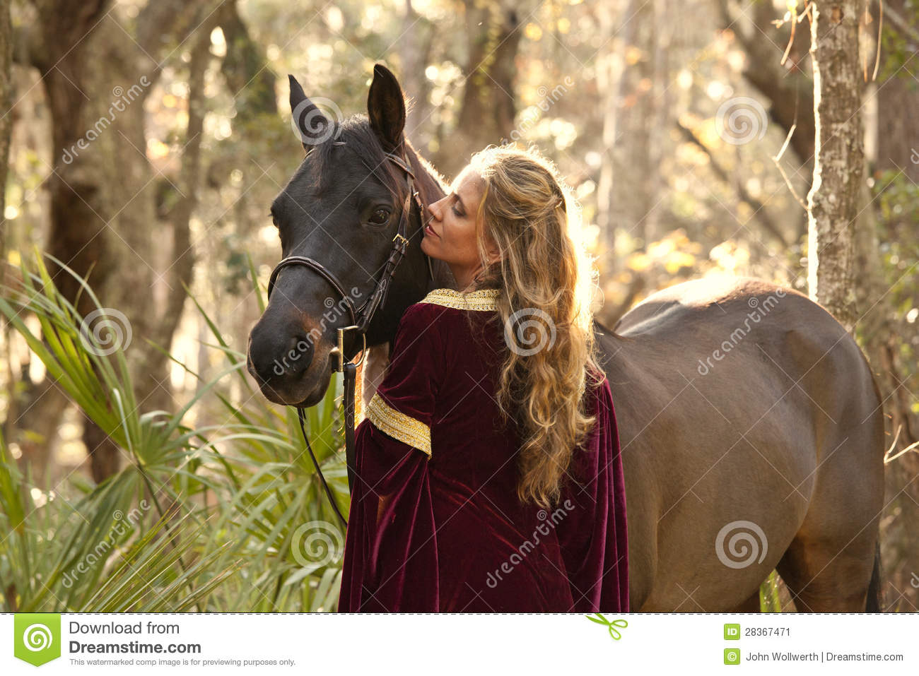 Wallpaper Download Alone Girl Woman In Medieval Dress With Horse Stock Image Image