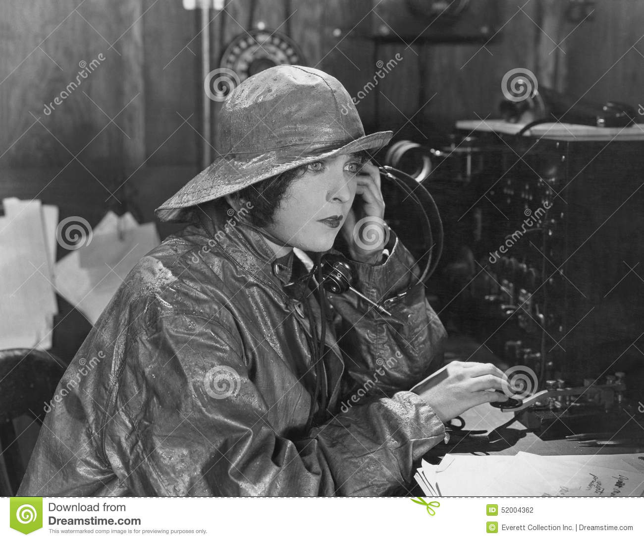 Free Job Alert Woman In Raincoat Sending Message In Morse Code Stock