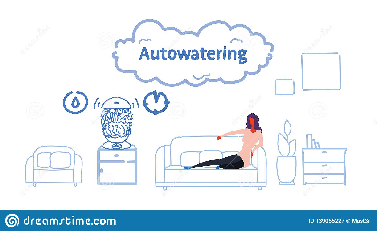 Auto Couch Woman Sitting Couch Using Auto Watering Application Smart House