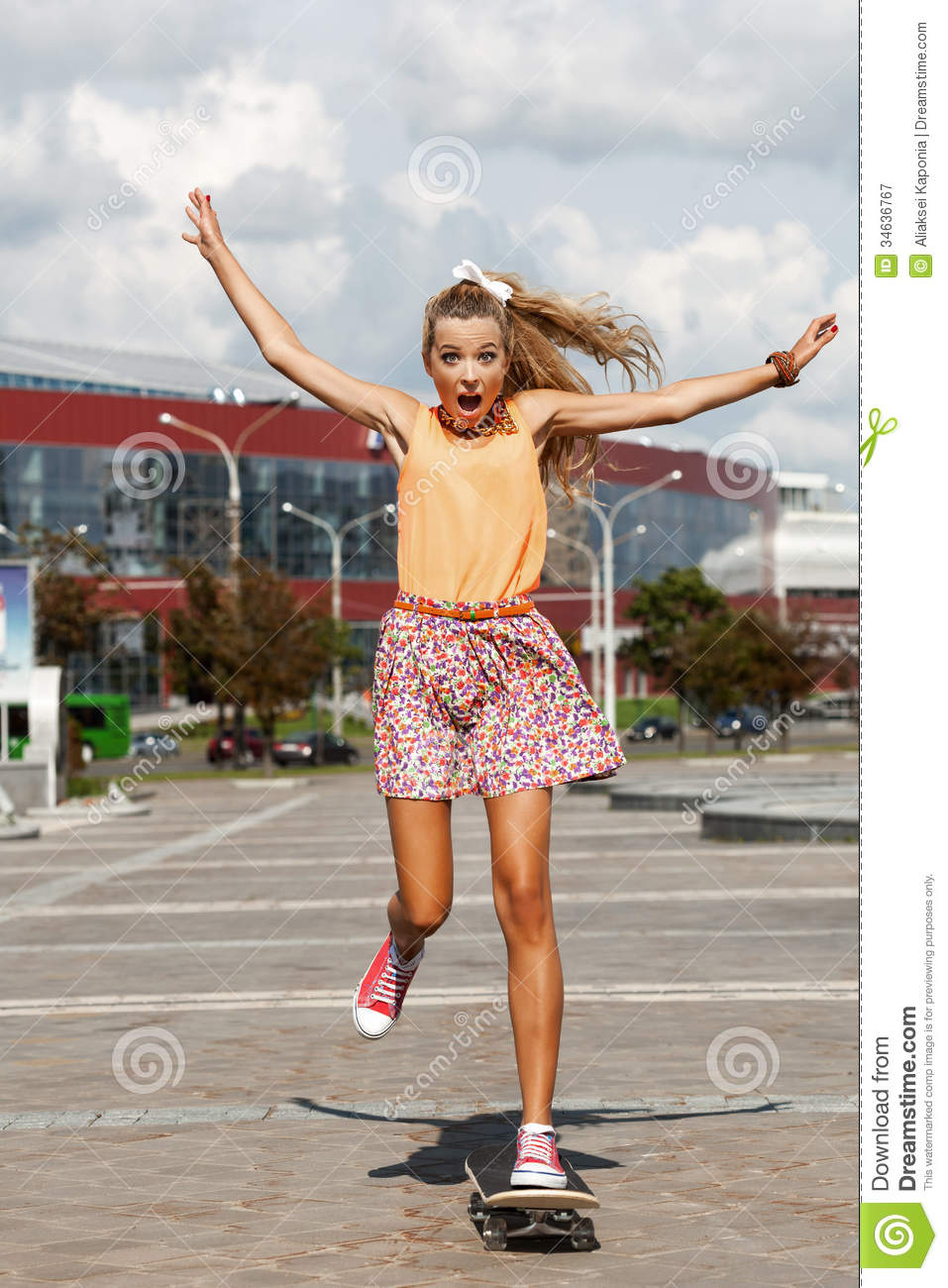 Modern Girl Wallpaper Free Download Woman With Skateboard Royalty Free Stock Photography