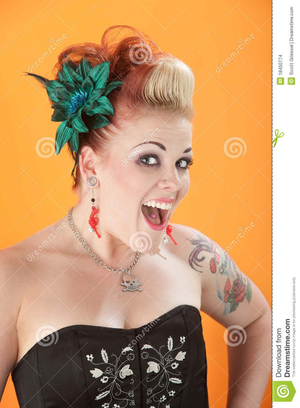 Feminine Tattoos Woman With Tattoos And Pierced Tongue Stock Photo - Image