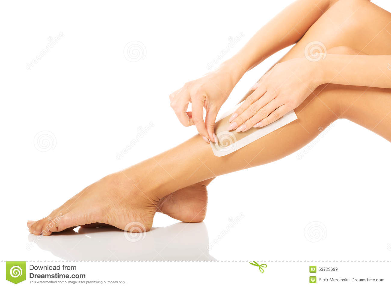 Spa Waxing Woman Waxing Her Leg Stock Photo Image 53723699