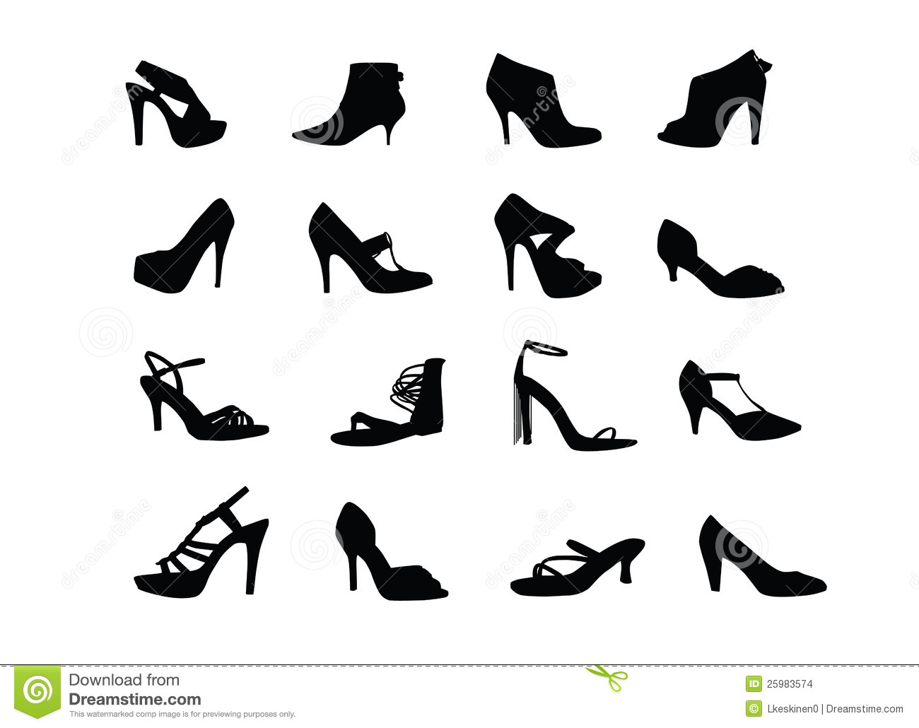 Women Heel Shoes Silhouettes Stock Vector Illustration